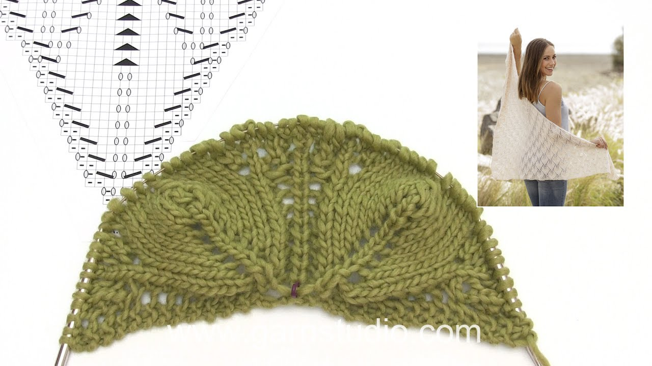 How to knit the shawl with leaf pattern in DROPS 176-21 - YouTube
