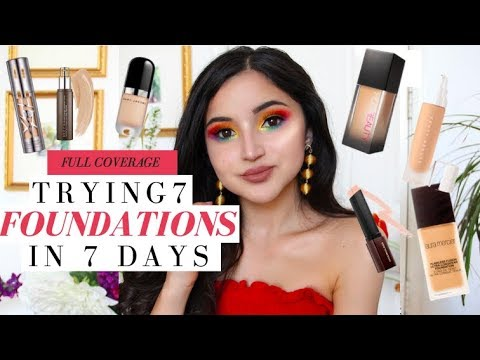 TRYING 7 FULL COVERAGE HIGH END FOUNDATIONS FOR A WEEK   7 Wear Tests + Full Reviews
