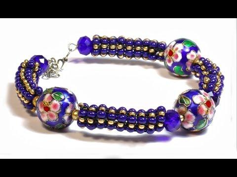 Стильный браслет из бисера и бусин 🌺 Барвинок  - Мастер класс /DIY: Beaded bracelet Periwinkle