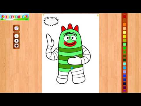 yo gabba gabba coloring pages book video colouring muno brobee nursery rhymes songs for kids babies