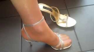 High Heel sandaletten Shiny pantyhose feet