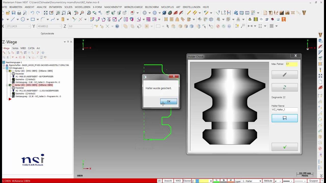 mastercam x8 | werkzeuge und werkzeughalter - youtube