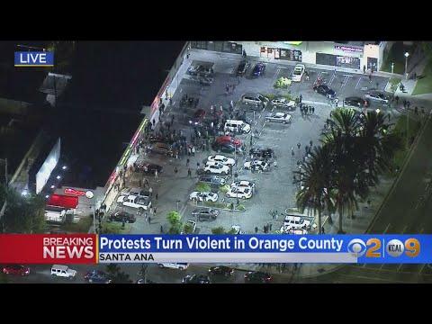 Santa Ana Protestors Throw Bottles, Fireworks At Officers; 1 OC Sheriff's Deputy Injured