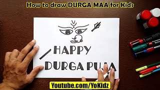 How to draw DURGA MAA for kids