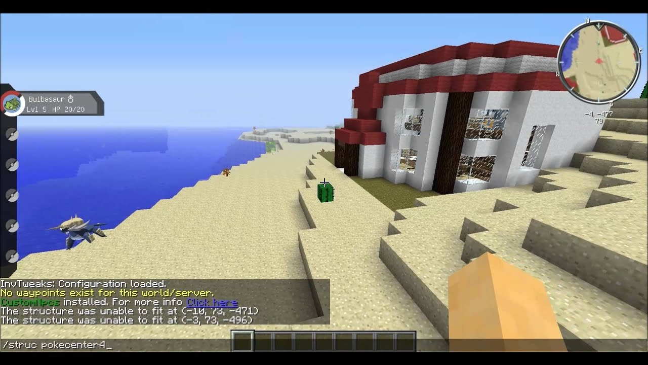 Pixelmon: How to spawn a pokecenter with commands