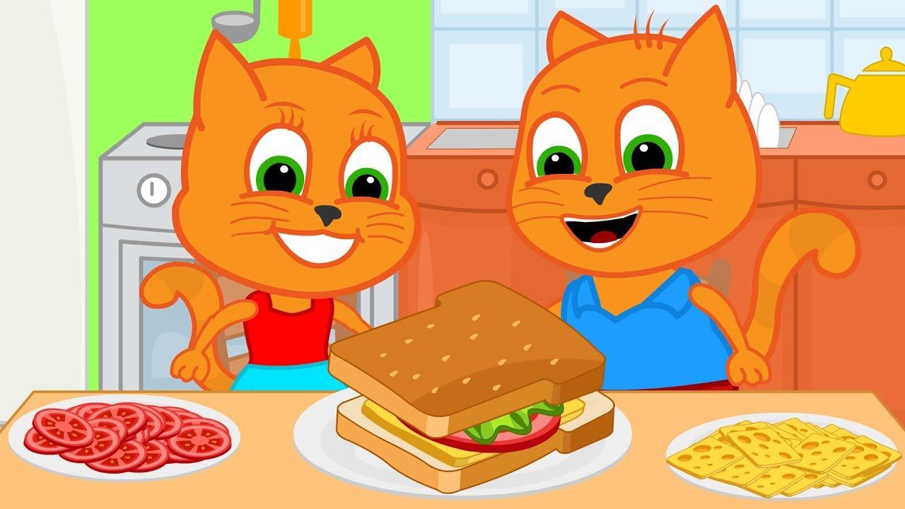 Familia De Gatos Bebes Sandwich De Cocina Dibujos Animados Para
