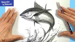 [Eng sub] How to draw a Tuna with a pencil for Beginners | Step by Step  #StayHome #WithMe