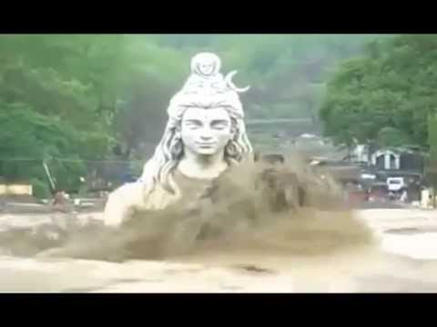 Statue of Lord Shiva in Rishikesh, Ganga River Heavy Flood in Uttarakhand... jagadeepkumar.