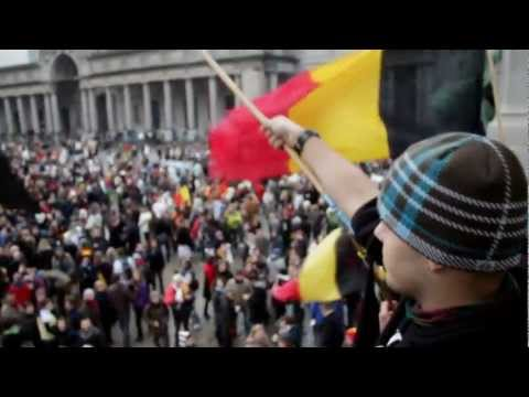"Belgium protest: ""No Governement, Great Country"" HD"