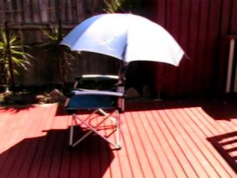 How To Make A Portable Shade   Using A Camp Chair And Golf Umbrella   Home  Made