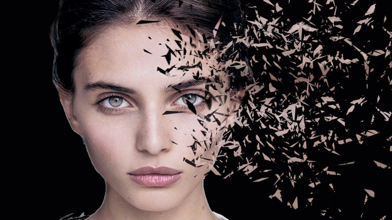 photoshop tutorial cc broken glass explode face - YouTube