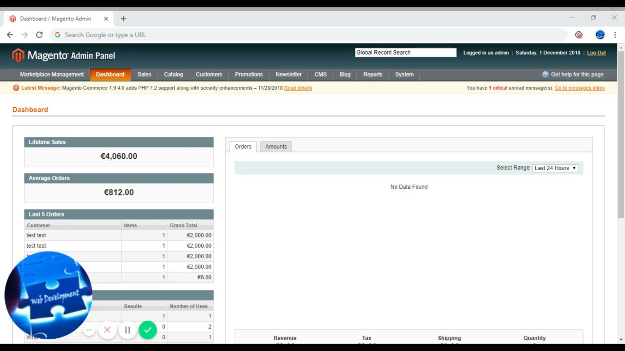Magento-A quick glimpse- Ecommerce Software dashboard
