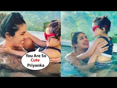 Priyanka Chopra Very Cute Masti With Cute Little Baby Girl In Swimming Pool