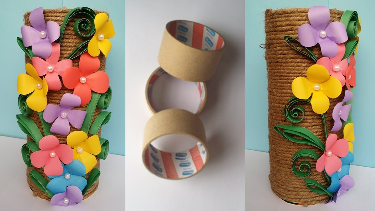 How to make best out of waste flower vase jute twine for Best out of waste making