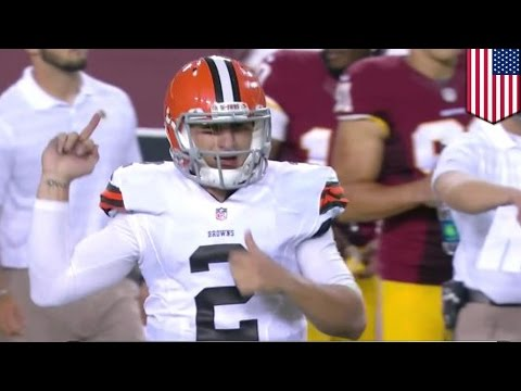 Johnny Manziel's middle finger: Browns quarterback flips that bird at Washington sidelines