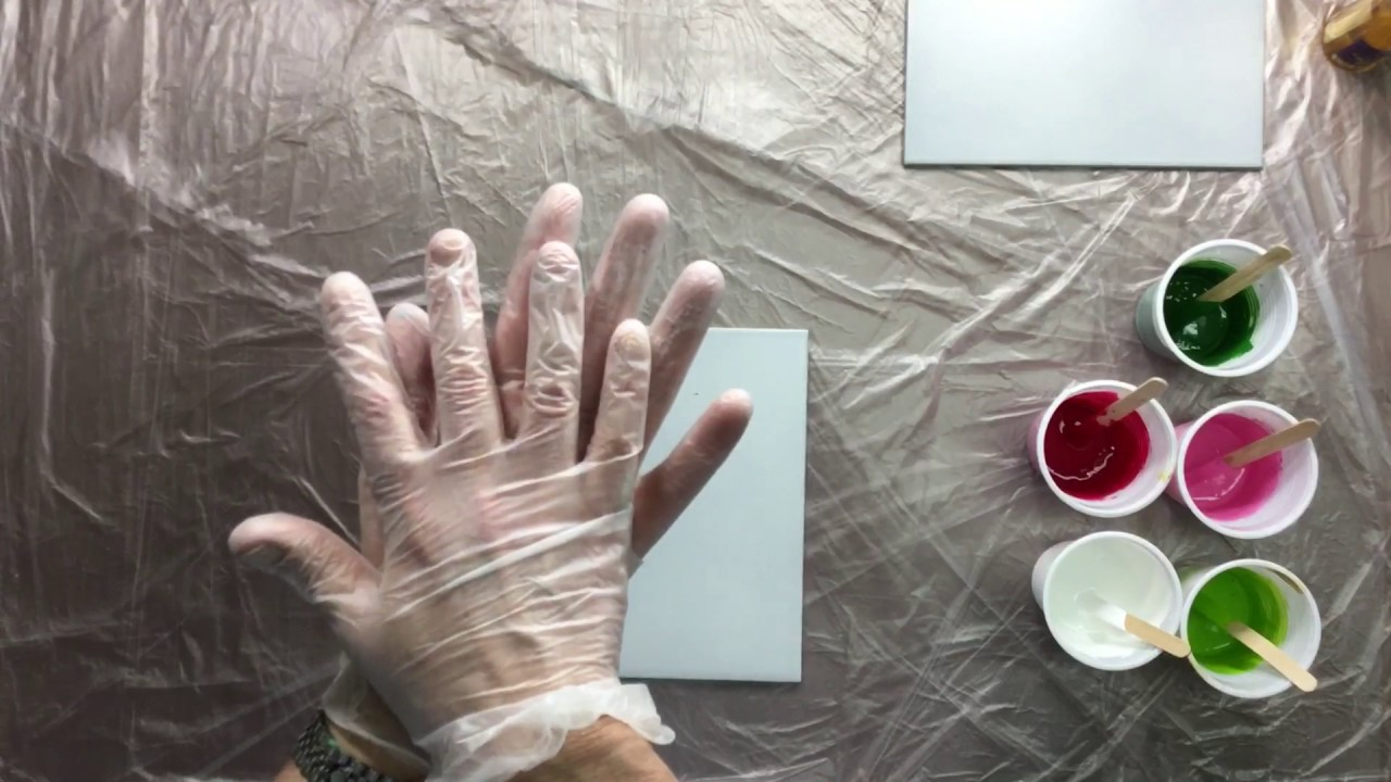 066 acrylic pouring on a ceramic tile with hair - Silicone paint for exterior walls ...