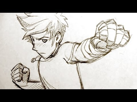 How To Draw Manga Fighting Pose Punching Fists Youtube