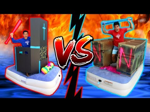 Box Fort WAR on WATER! **EPIC Battle**