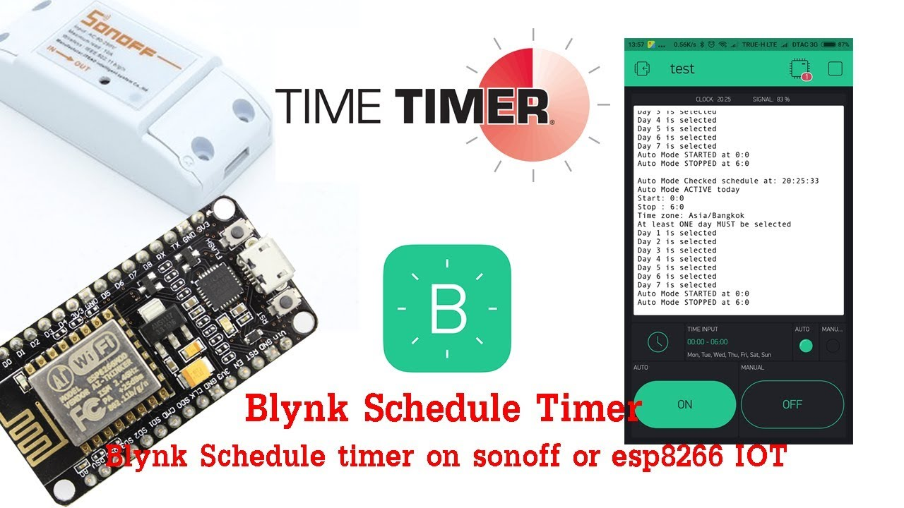 วิธีการทำ Blynk Schedule timer on sonoff or esp8266 IOT