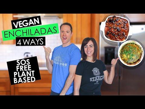 Easy Green & Red Enchiladas   Vegan Oil Free