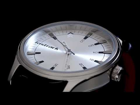 3236SL01 - SILVER DIAL BLUE LEATHER STRAP WATCH