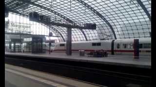 bge ec 55 train by pkp ic taxing on berlin hbf when ice train leaving station