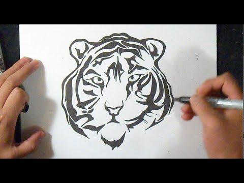 tiger gesicht zum ausmalen - malvorlagen