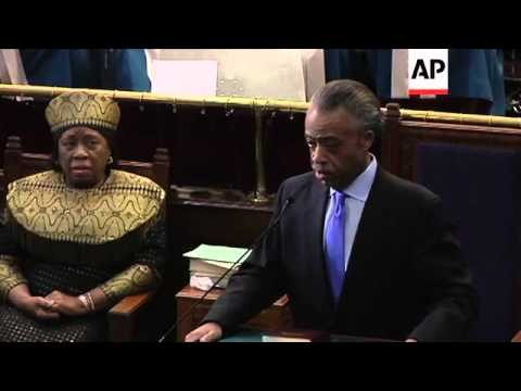 Rev. Al Sharpton pays tribute to Whitney Houston at an L.A. service