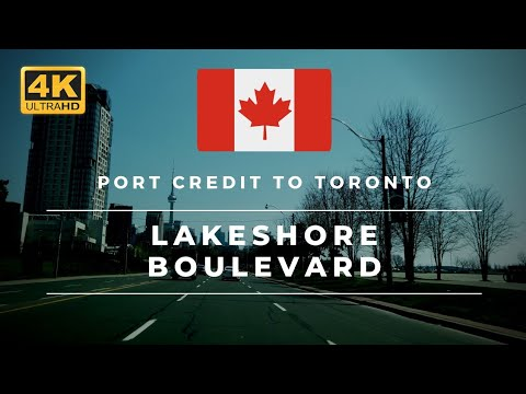 Driving From Port Credit, Mississauga To Toronto On Lakeshore Boulevard In Canada [4K] [ASMR]