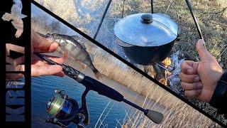 День рождения на рыбалке или ловля окуня на ультралайт Уха Шашлык ммммм