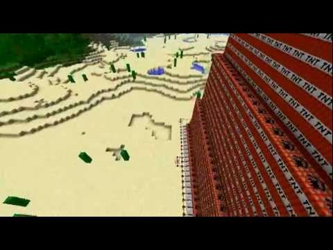 Minecraft - huge TNT skyscraper blows up.