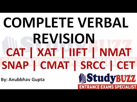 Complete verbal revision for CAT- Master every verbal topic in 1 hour