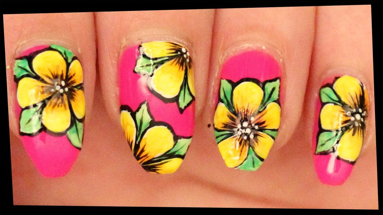 yellow flowers neon pink nail