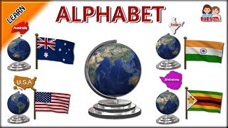 Learn Alphabets for Kids with Country Names and Flags | Learn Country Flags for Kids with Phonics