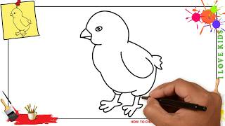 How to draw a chick EASY & SLOWLY step by step for kids, beginners, children