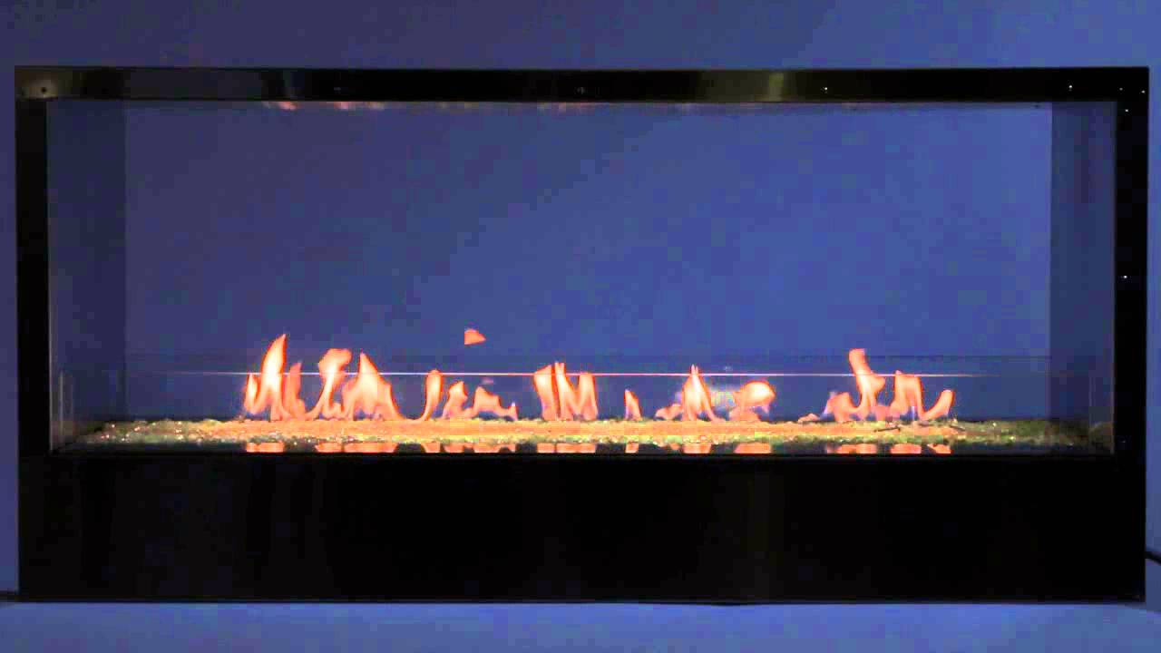 outdoor linear 48 inch see through fireplace with led lighting