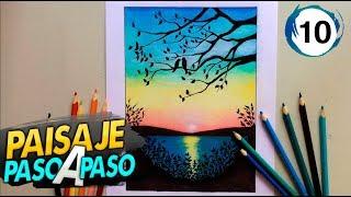 PAISAJE A COLOR CON LÁPICES DE COLORES PASO A PASO #10