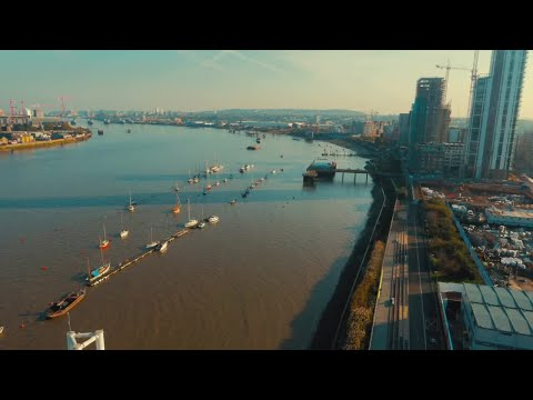 Aerial Shot Of The River Thames In London Stock Video