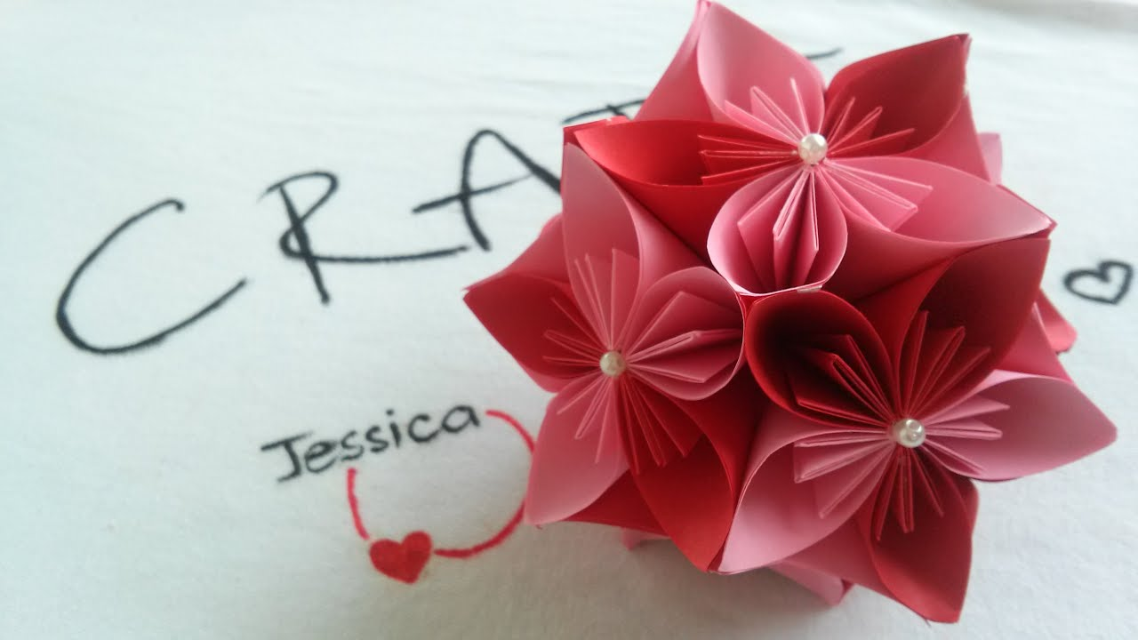 Origami easy origami cherry flower ball youtube mightylinksfo