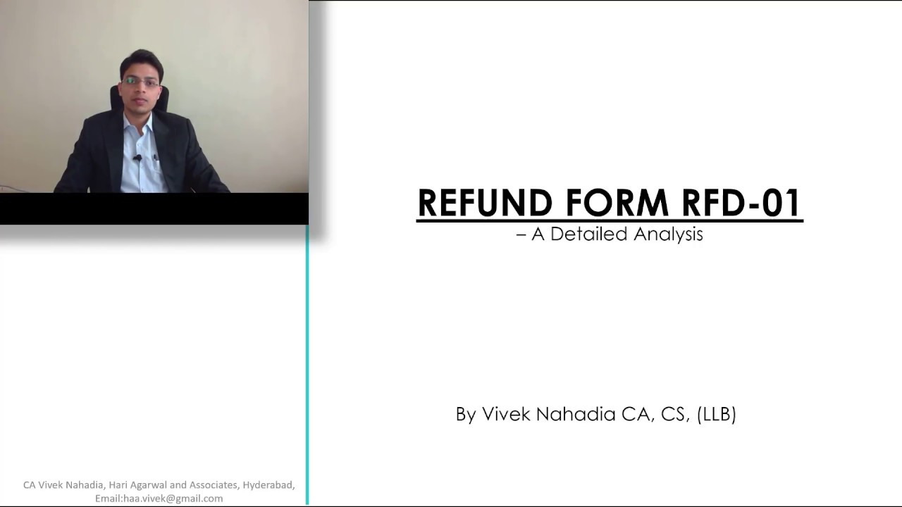 HOW TO FILE GST REFUND RFD 01 FORM - CA VIVEK NAHADIA
