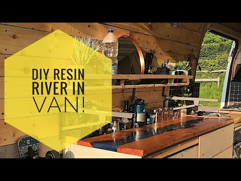 Beautiful Resin Pour  River Table in Self Build Van