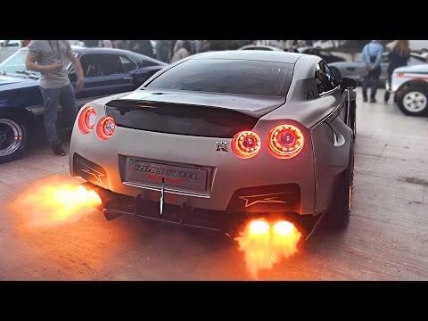 Widebody Nissan GT-R Launch Control FLAMES sets off Car Alarm!