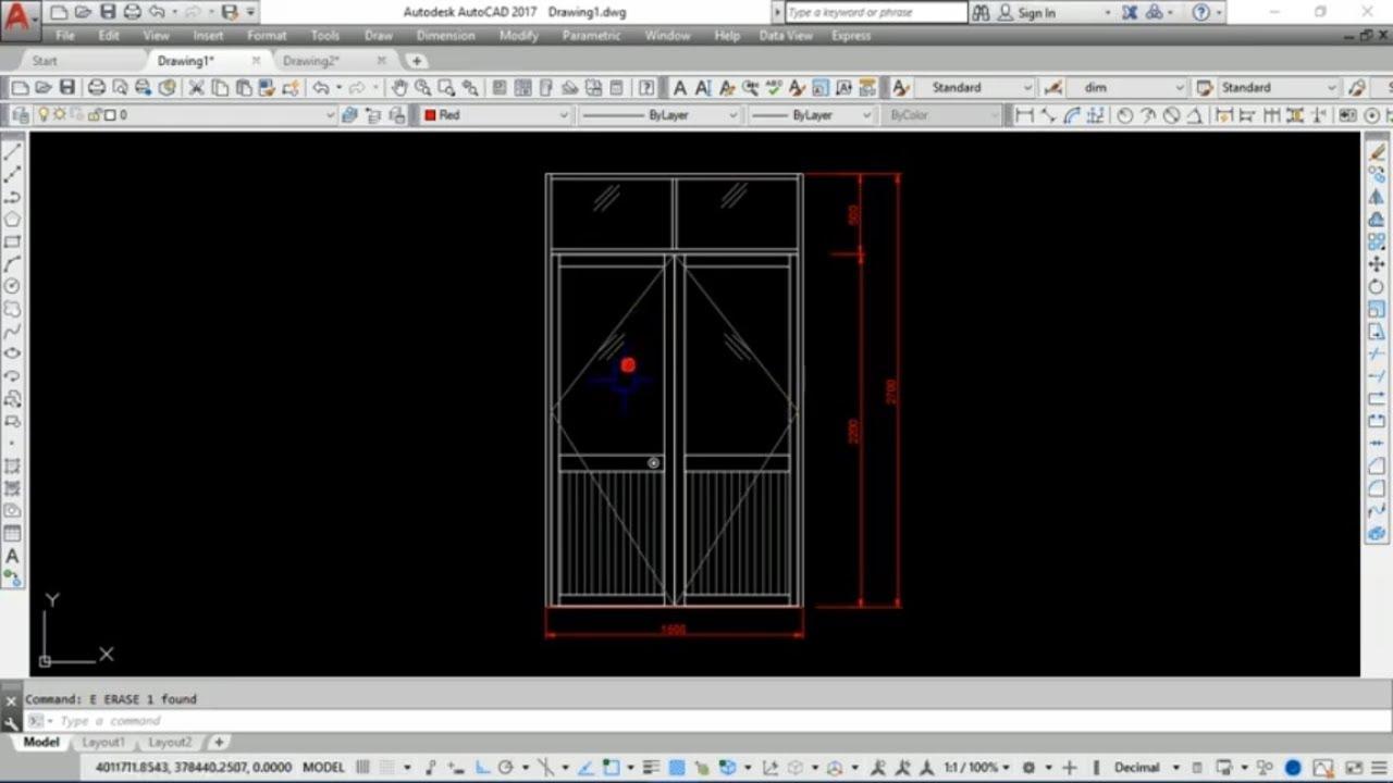 Vẽ chi tiết cửa nhôm 2 cánh - vẽ shop drawing cửa đi - video 2