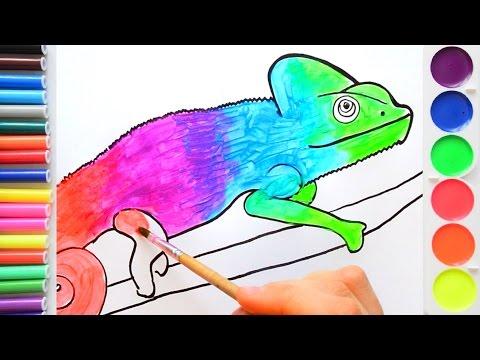 Рисуем хамелеона яркими красками. Смешиваем цвета.Рисование для детей.