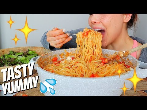 One-Pot Two Cheese Chicken Spaghetti Recipe (SQUISHY EATING SOUNDS) 먹방 Mukbang
