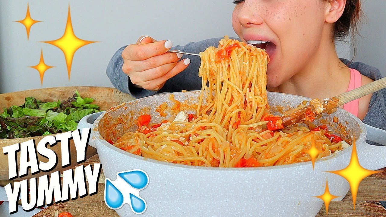 one-pot-two-cheese-chicken-spaghetti-recipe-squishy-eating-sounds-먹방-mukbang