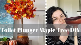 Easiest Ever Dollar Tree DIY Fall 2019 | Toilet Plunger Fall Tree