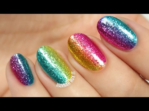 Easy Rainbow Glitter Nails