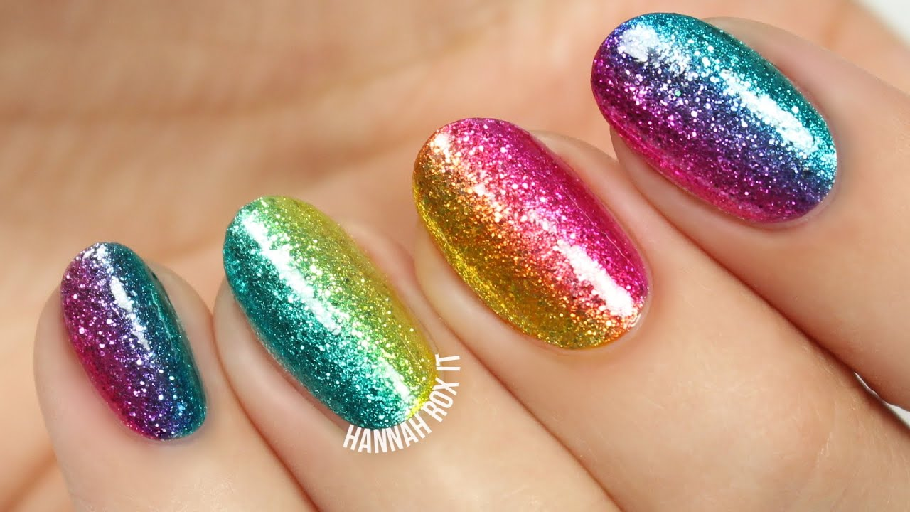 Easy rainbow glitter nails youtube easy rainbow glitter nails solutioingenieria Image collections
