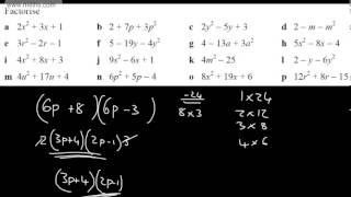 GCSE Algebra Harder Factoring Quadratics   Coeffecient not 1
